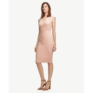 Draped Sheath Surplice Midi Dress Sunrise Peach 2